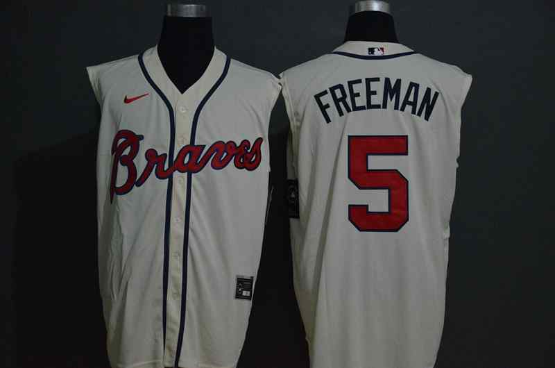 Braves 5 Freddie Freeman White Nike Cool Base Sleeveless Jersey