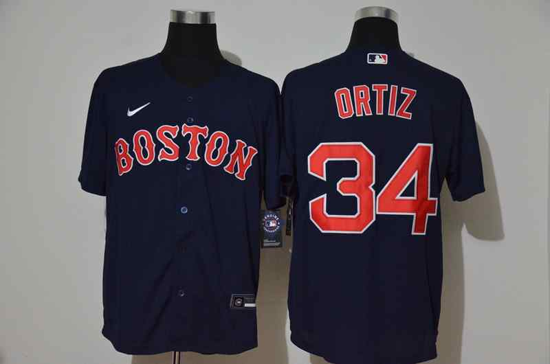 Red Sox 34 David Ortiz Navy 2020 Nike Cool Base Jersey