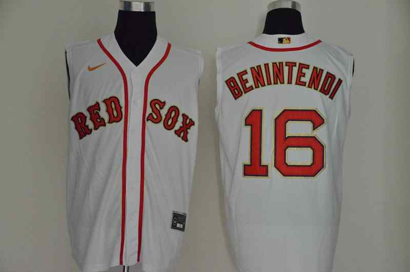Red Sox 16 Andrew Benintendi White Nike Cool Base Sleeveless Jersey