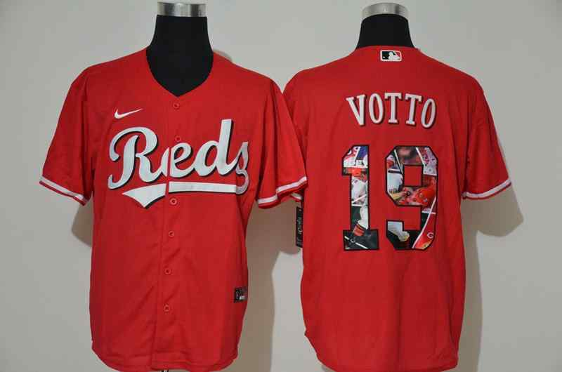 Reds 19 Joey Votto Red Nike Cool Base Player Jersey