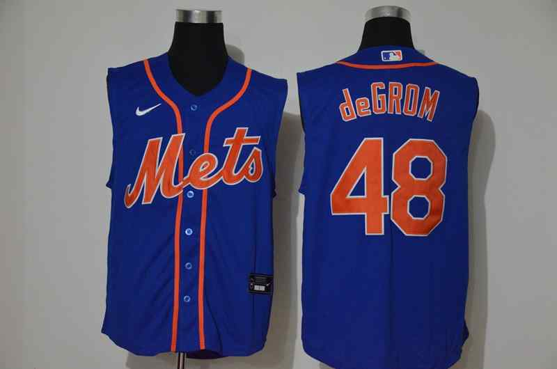 Mets 48 Jacob DeGrom Royal Nike Cool Base Sleeveless Jersey