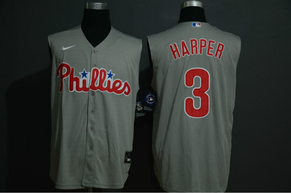 Phillies 3 Bryce Harper Gray Gold Nike Cool Base Sleeveless Jersey