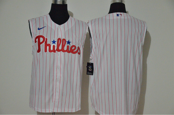 Phillies Blank White Nike Cool Base Sleeveless Jersey