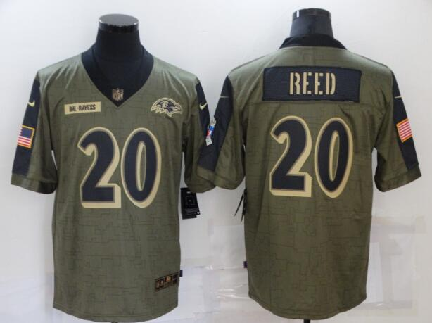 Men's Baltimore Ravens 20 Ed Reed Nike Olive 2021 Salute To Service Retired Player Limited Jersey