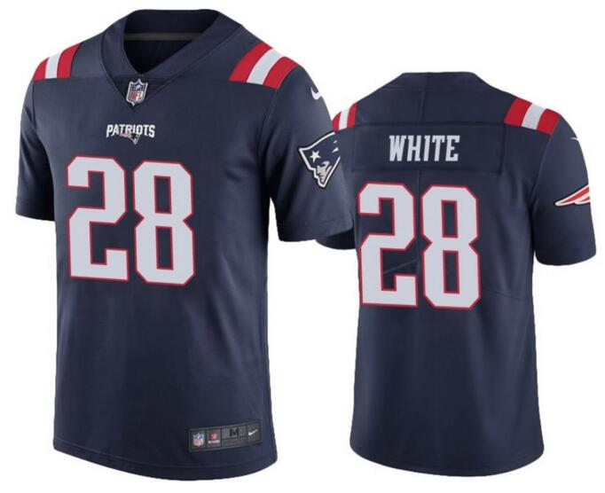 New England Patriots 28   James White Blue Color Rush Limited Jersey