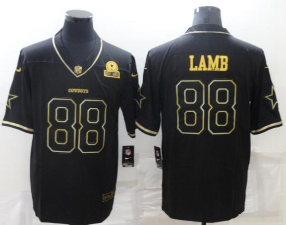 Men's Dallas Cowboys 88 Ceedee Lamb Black 60th Seasons Patch Golden Edition Stitched NFL Nike Limited Jersey