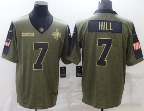 Men's New Orleans Saints 7 Taysom Hill Nike Olive 2021 Salute To Service Limited Player Jersey