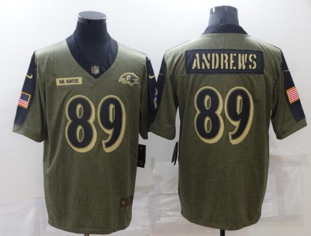Men's Baltimore Ravens 89 Mark Andrews Nike Olive 2021 Salute To Service Limited Player Jersey