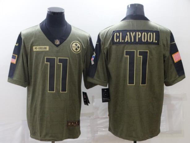 Men's Pittsburgh Steelers 11 Chase Claypool Nike Olive 2021 Salute To Service Limited Player Jersey