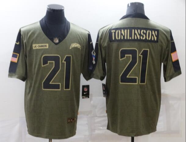 Men's Los Angeles Chargers 21 LaDainian Tomlinson Olive 2021 Salute To Service Retired Player Limited Jersey