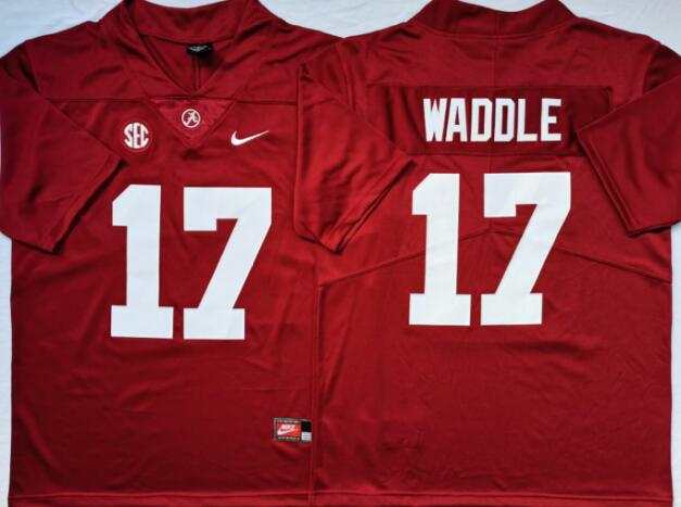 Mens NCAA Alabama Crimson Tide 17 Waddle Red College Football Jersey