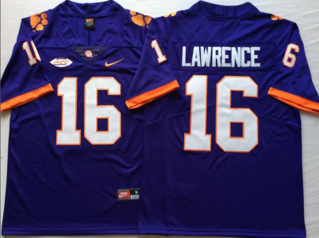 Mens NCAA Clemson Tigers 16 Lawrence Purple College Football Jersey