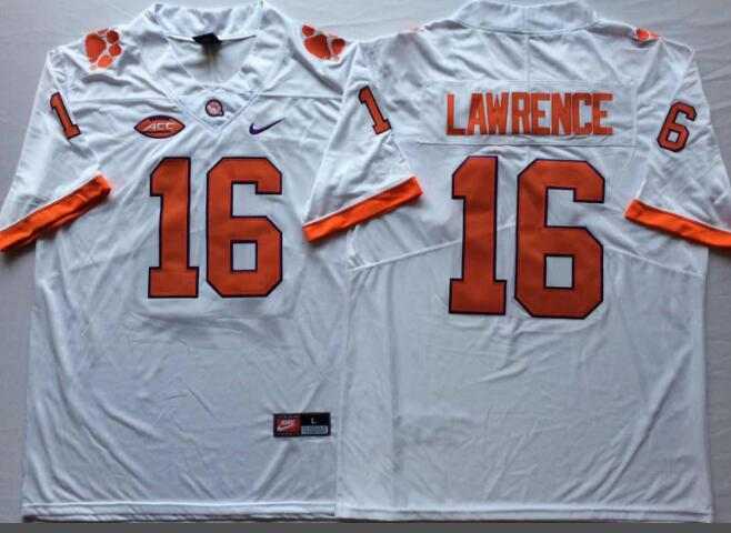 Mens NCAA Clemson Tigers 16 Lawrence White College Football Jersey