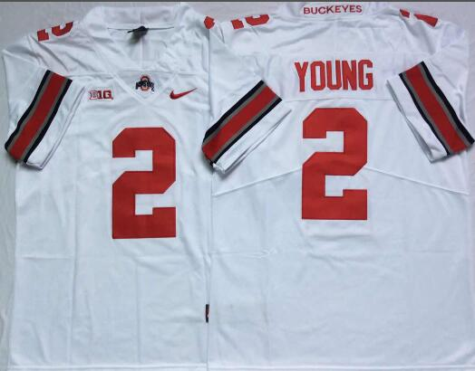 Mens NCAA Ohio State Buckeyes 2 Young White Limited College Football Jersey