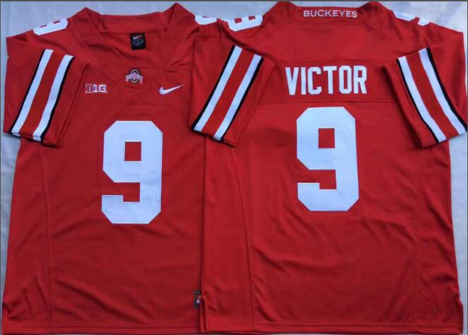 Mens NCAA Ohio State Buckeyes 9 Victor Red College Football Jersey