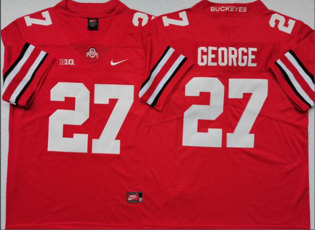 Mens NCAA Ohio State Buckeyes 27 George Red College Football Jersey