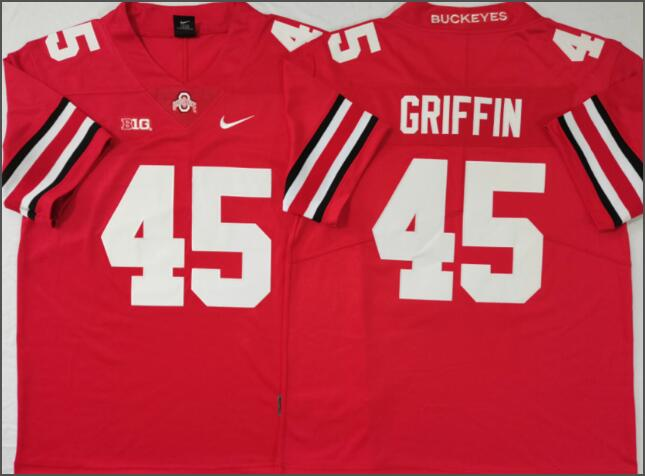 Mens NCAA Ohio State Buckeyes 45 Griffin Red College Football Jersey