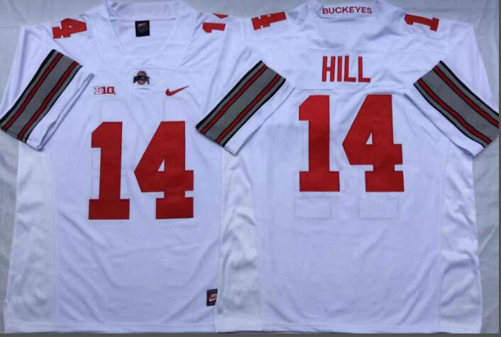 Mens NCAA Ohio State Buckeyes 14 Hill White College Football Jersey