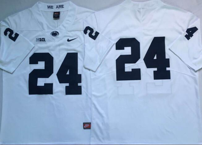 Mens NCAA Penn State Nittany Lions 24 White College Football Jersey