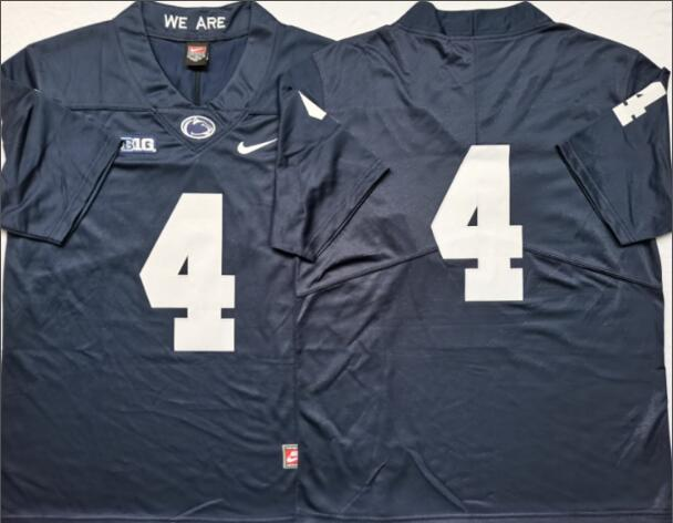 Mens NCAA Penn State Nittany Lions 4 Blue College Football Jersey