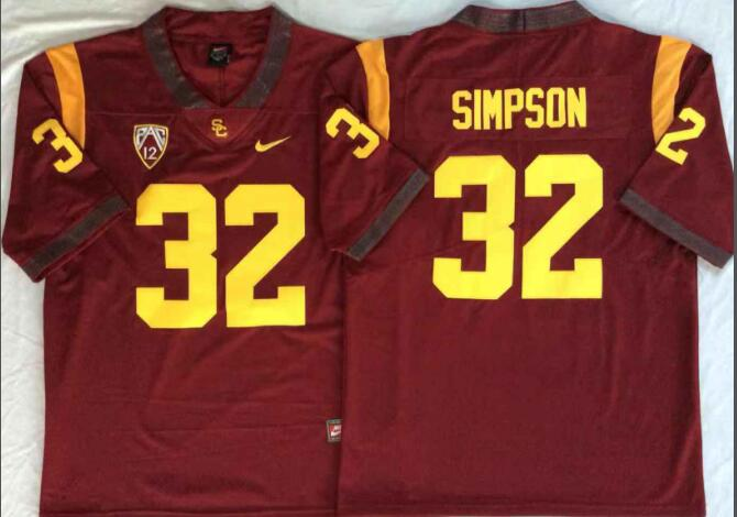 Mens NCAA USC Trojans 32 Simpson Red College Football Jersey