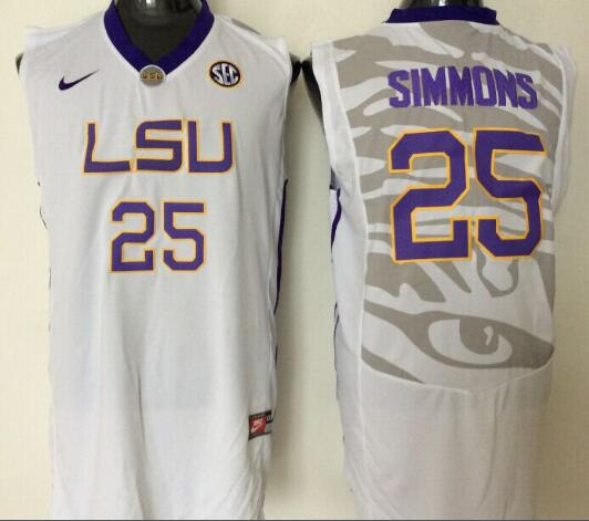 Mens NCAA LSU Tigers 25 Simmons White College Basketball Jersey