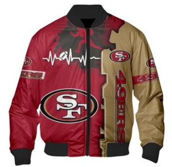 Mens NFL Football San Francisco 49ers Flying Stand Neck Coat 3D Digital Printing Customized Jackets 11