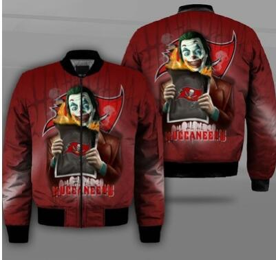 Mens NFL Football Tampa Bay Buccaneers  Flying Stand Neck Coat 3D Digital Printing Customized Jackets 3