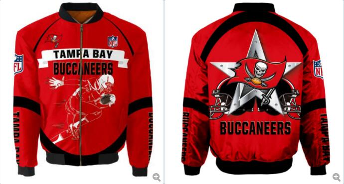 Mens NFL Football Tampa Bay Buccaneers  Flying Stand Neck Coat 3D Digital Printing Customized Jackets 13
