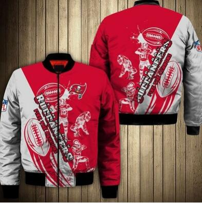 Mens NFL Football Tampa Bay Buccaneers  Flying Stand Neck Coat 3D Digital Printing Customized Jackets 6