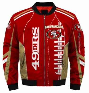 Mens NFL Football San Francisco 49ers Flying Stand Neck Coat 3D Digital Printing Customized Jackets 2