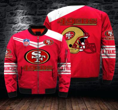 Mens NFL Football San Francisco 49ers Flying Stand Neck Coat 3D Digital Printing Customized Jackets 1