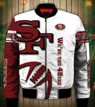 Mens NFL Football San Francisco 49ers Flying Stand Neck Coat 3D Digital Printing Customized Jackets 6
