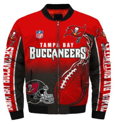 Mens NFL Football Tampa Bay Buccaneers  Flying Stand Neck Coat 3D Digital Printing Customized Jackets 4
