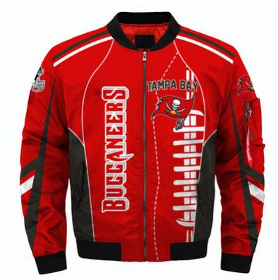 Mens NFL Football Tampa Bay Buccaneers  Flying Stand Neck Coat 3D Digital Printing Customized Jackets 1