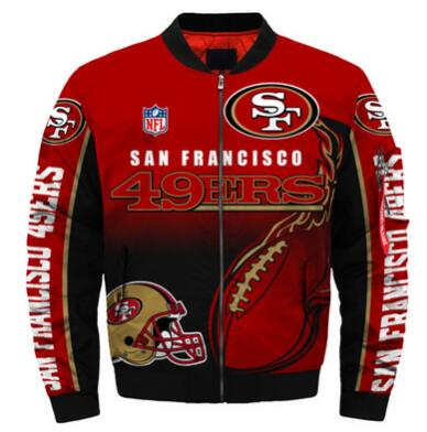 Mens NFL Football San Francisco 49ers Flying Stand Neck Coat 3D Digital Printing Customized Jackets 5