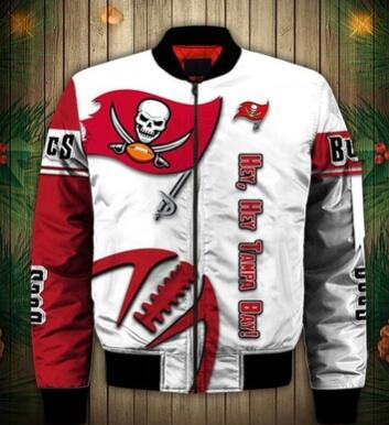 Mens NFL Football Tampa Bay Buccaneers  Flying Stand Neck Coat 3D Digital Printing Customized Jackets 5
