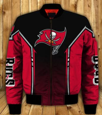 Mens NFL Football Tampa Bay Buccaneers  Flying Stand Neck Coat 3D Digital Printing Customized Jackets 7