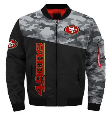 Mens NFL Football San Francisco 49ers Flying Stand Neck Coat 3D Digital Printing Customized Jackets 12