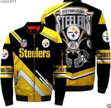Mens NFL Football Pittsburgh Steelers Flying Stand Neck Coat 3D Digital Printing Customized Jackets 2