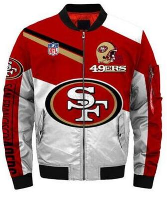 Mens NFL Football San Francisco 49ers Flying Stand Neck Coat 3D Digital Printing Customized Jackets 4