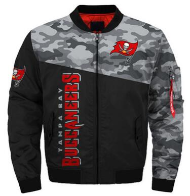 Mens NFL Football Tampa Bay Buccaneers  Flying Stand Neck Coat 3D Digital Printing Customized Jackets 11