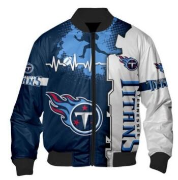 Mens NFL Football Tennessee Titans Flying Stand Neck Coat 3D Digital Printing Customized Jackets 9