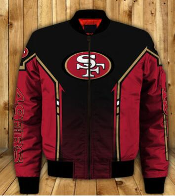Mens NFL Football San Francisco 49ers Flying Stand Neck Coat 3D Digital Printing Customized Jackets 8