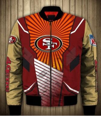 Mens NFL Football San Francisco 49ers Flying Stand Neck Coat 3D Digital Printing Customized Jackets 9