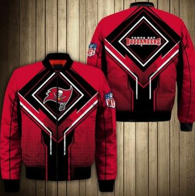 Mens NFL Football Tampa Bay Buccaneers  Flying Stand Neck Coat 3D Digital Printing Customized Jackets 9