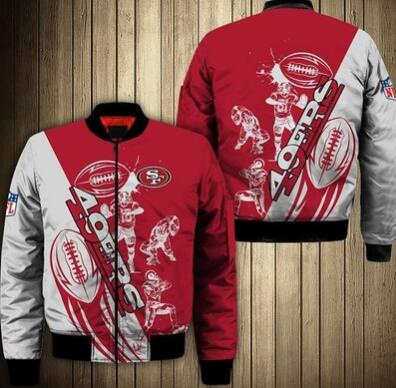 Mens NFL Football San Francisco 49ers Flying Stand Neck Coat 3D Digital Printing Customized Jackets 7