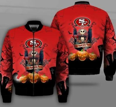Mens NFL Football San Francisco 49ers Flying Stand Neck Coat 3D Digital Printing Customized Jackets 3