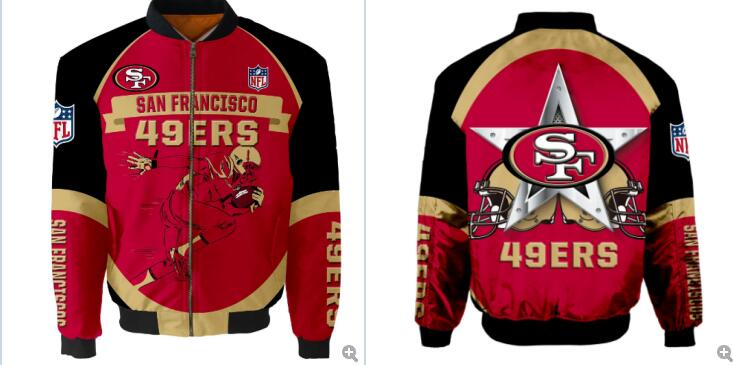 Mens NFL Football San Francisco 49ers Flying Stand Neck Coat 3D Digital Printing Customized Jackets 13