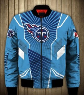 Mens NFL Football Tennessee Titans Flying Stand Neck Coat 3D Digital Printing Customized Jackets 7